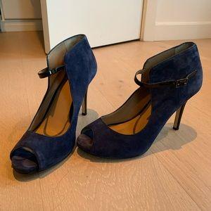 Suede Blue Ann Taylor heels w/ ankle strap